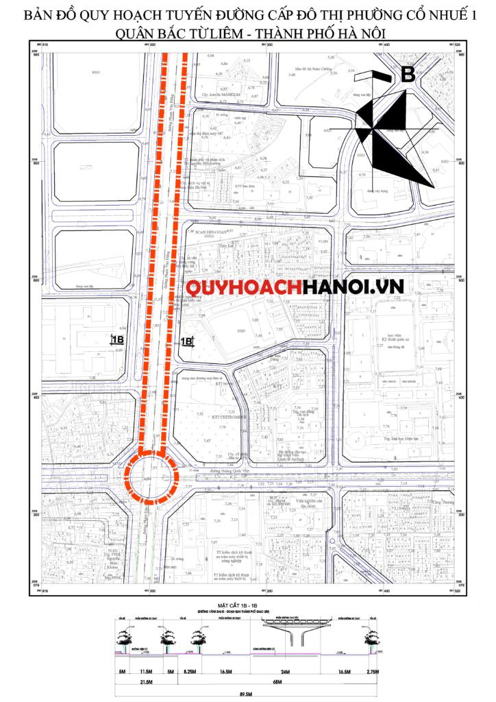 Bản đồ quy hoạch đường cấp đô thị phường Cổ Nhuế 1