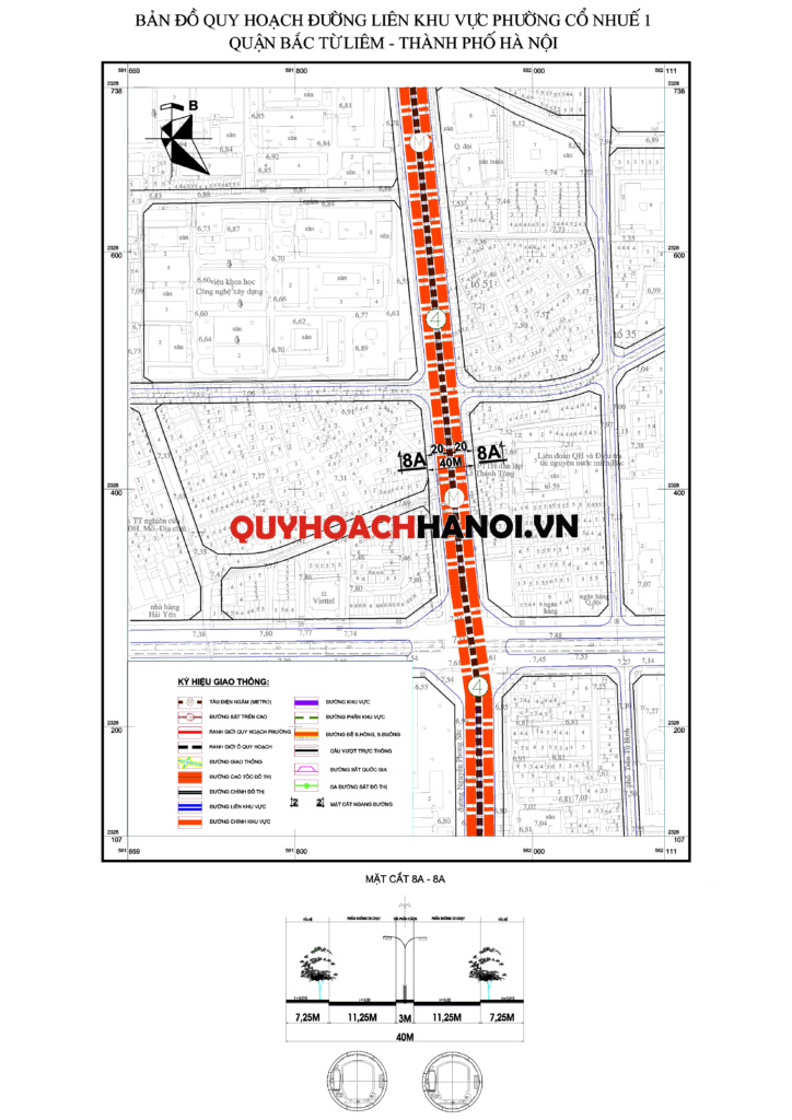 Bản đồ quy hoạch đường liên khu vực phường Cổ Nhuế 1