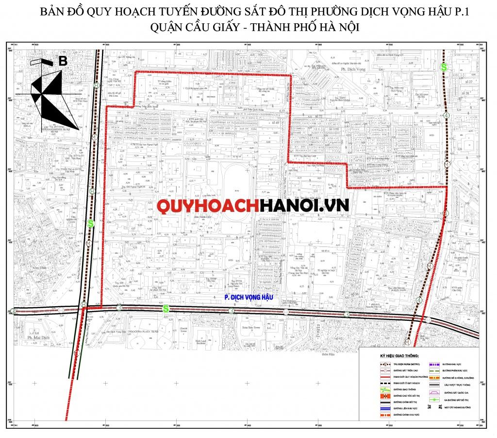 Bản đồ quy hoạch tuyến đường sắt đô thị phường Dịch Vọng Hậu P1