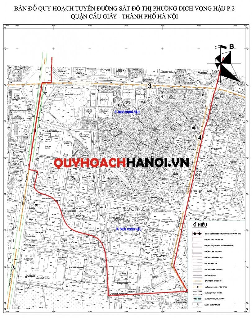 Bản đồ quy hoạch tuyến đường sắt đô thị phường Dịch Vọng Hậu P2