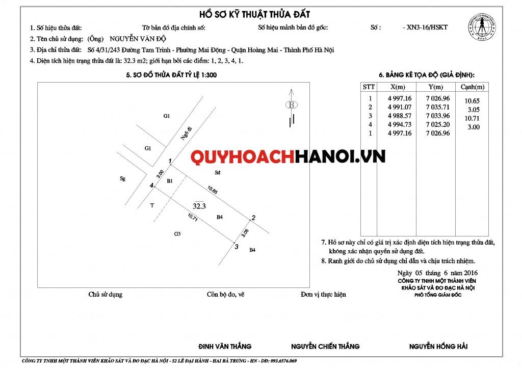 Mẫu sản phẩm đo đạc địa chính Hà Nội về đất