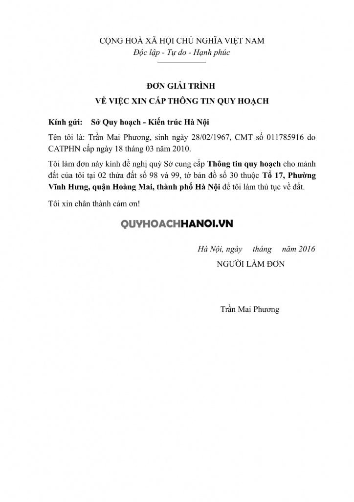 Đơn xin cung cấp thông tin quy hoạch Hà Nội mẫu