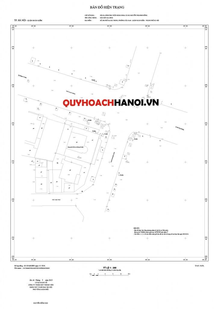 Bản đồ hiện trạng cá nhân lập chỉ giới đường đỏ
