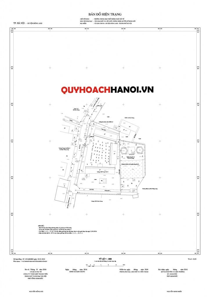 Bản đồ hiện trạng tổ chức lập chỉ giới đường đỏ