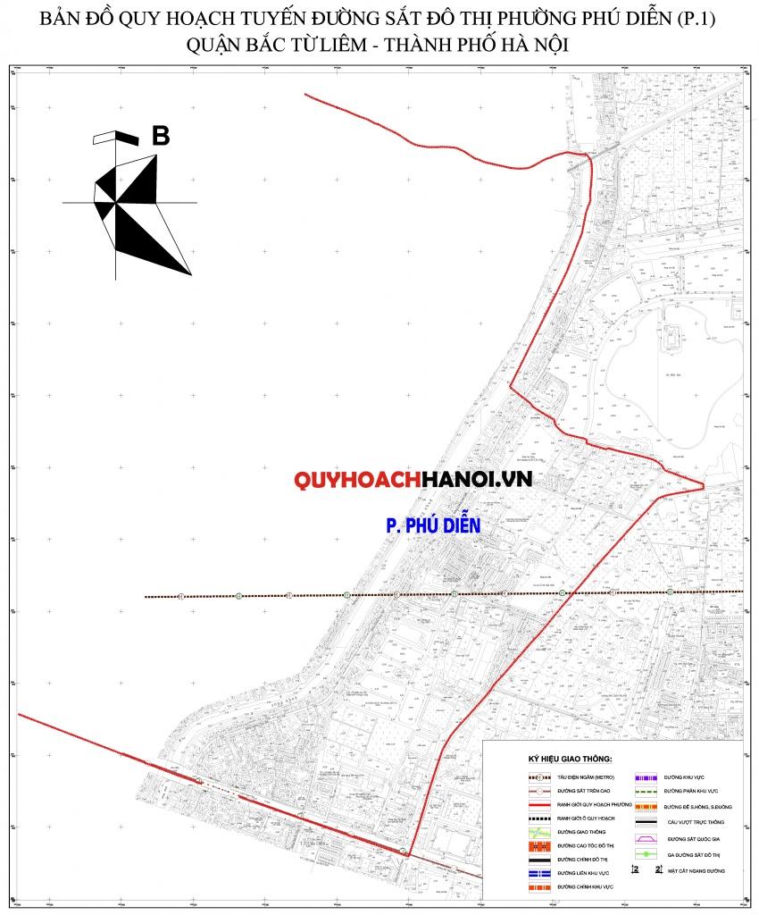 Bản đồ quy hoạch tuyến đường sắt phường Phú Diễn P1