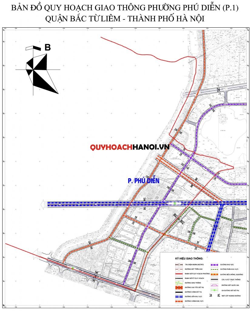Bản đồ quy hoạch giao thông phường Phú Diễn P1