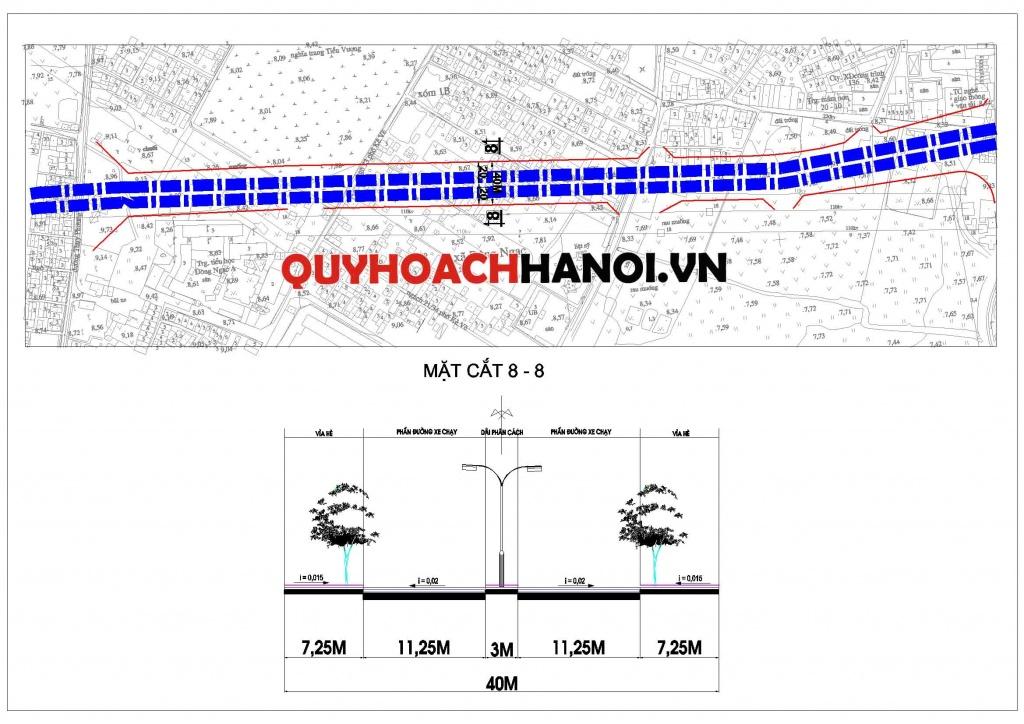 Ảnh bản đồ quy hoạch tuyến đường liên khu vực phường Đông Ngạc P1