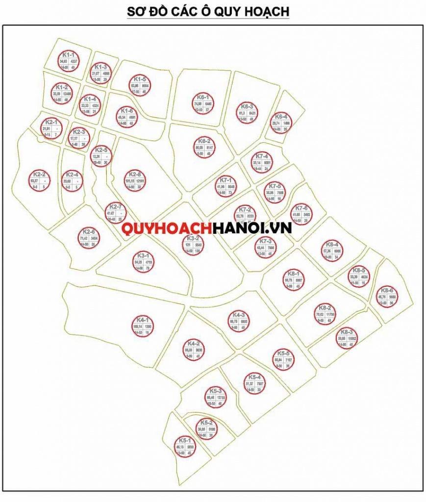 Các ô quy hoạch bản đồ quy hoạch sử dụng đất phân khu H2-2