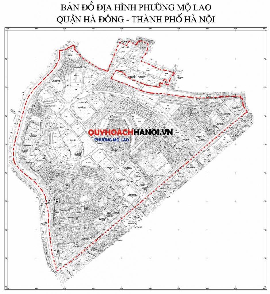 Ảnh Bản đồ địa hình phường Mộ Lao