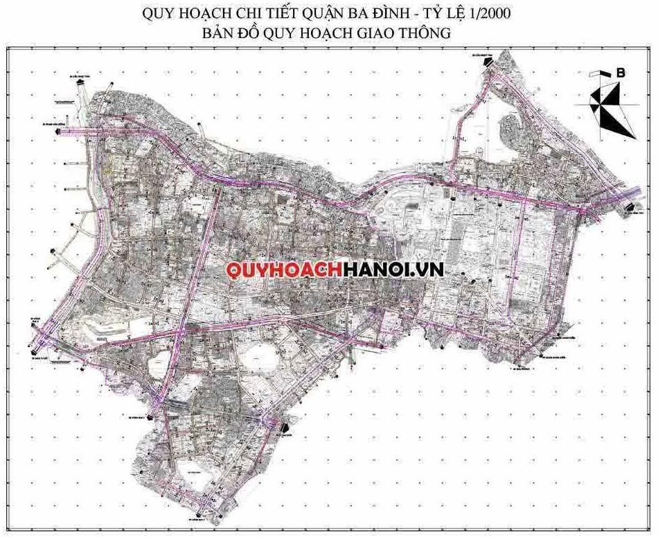 Bản đồ quy hoạch giao thông quận Ba Đình mới nhất