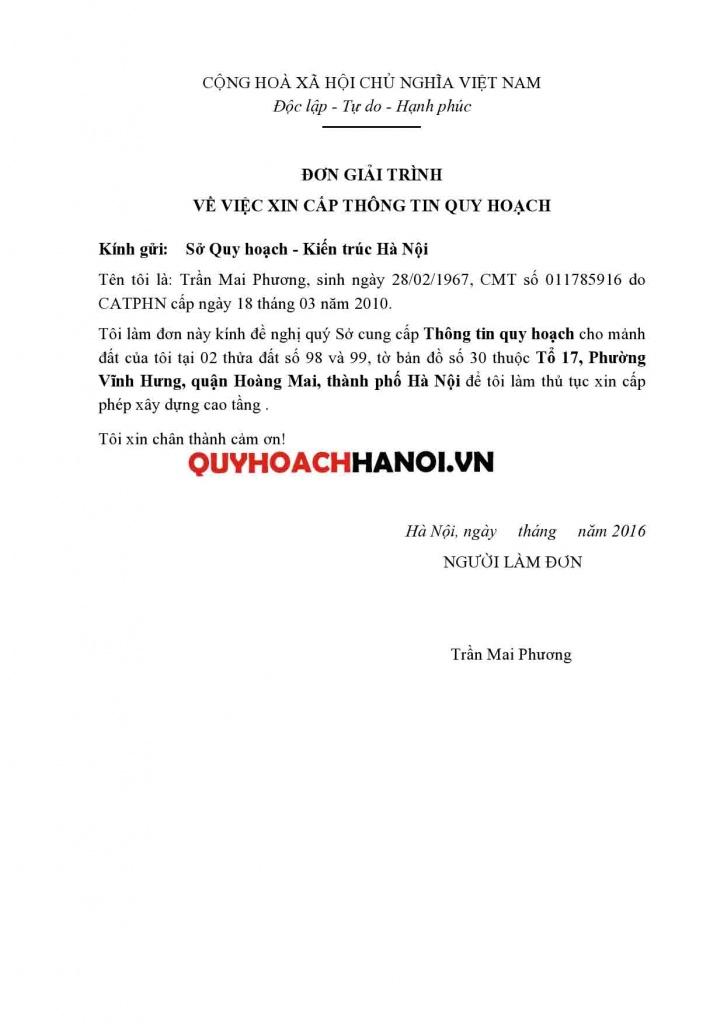 Đơn xin Cung cấp thông tin quy hoạch quận Nam Từ Liêm mẫu