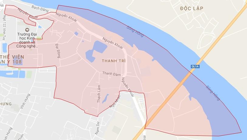 Ranh giới Bản đồ quy hoạch giao thông phường Thanh Trì