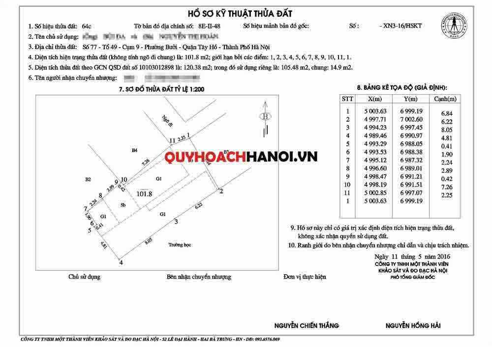 Đo đạc địa chính quận Tây Hồ mẫu 1