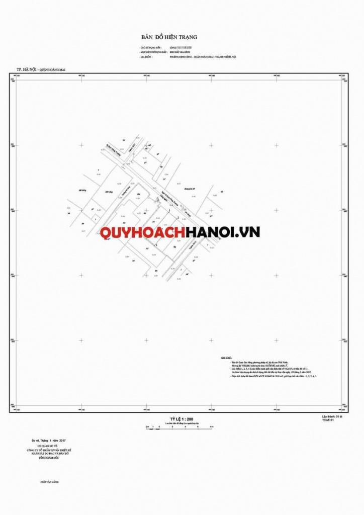 Bản đồ hiện trạng tỷ lệ 1/200 phục vụ lập chỉ giới đường đỏ quận Hoàng Mai
