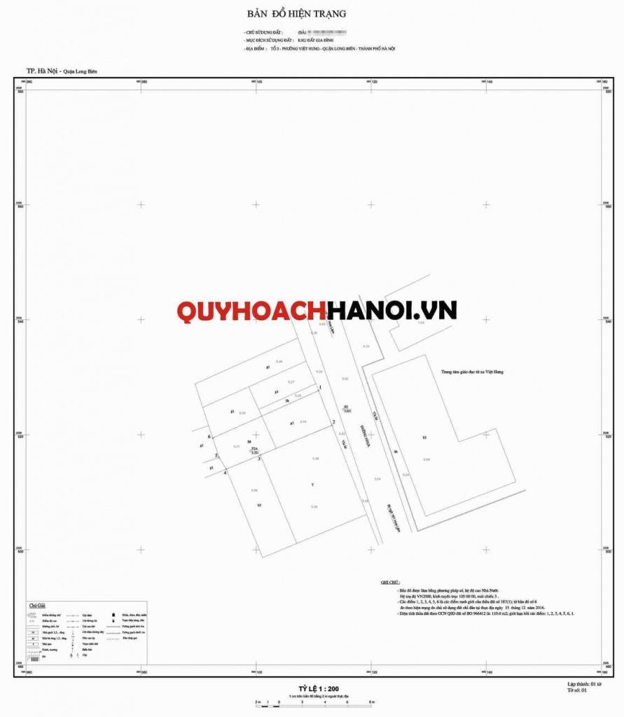 Mẫu bản đồ lập chỉ giới đường đỏ quận Long Biên