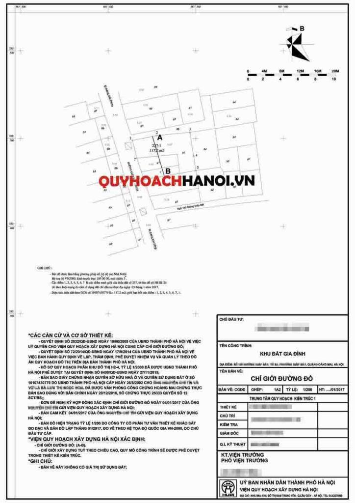 Bản vẽ lập chỉ giới đường đỏ quận Hoàng Mai mẫu 2
