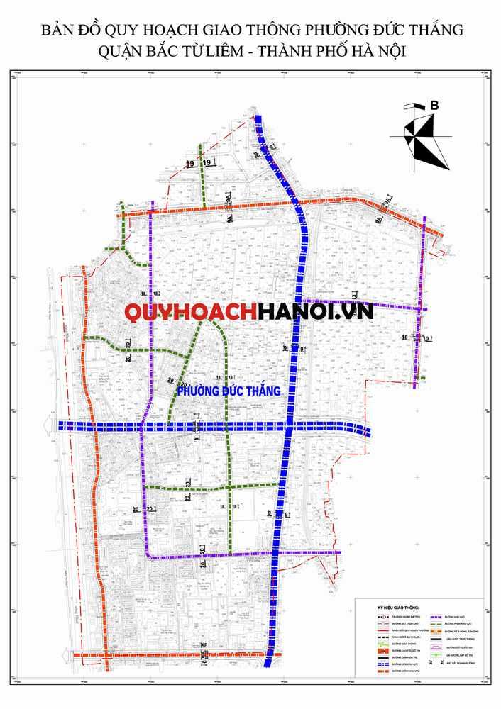 Bản đồ quy hoạch giao thông phường Đức Thắng - quận Bắc Từ Liêm - Hà Nội