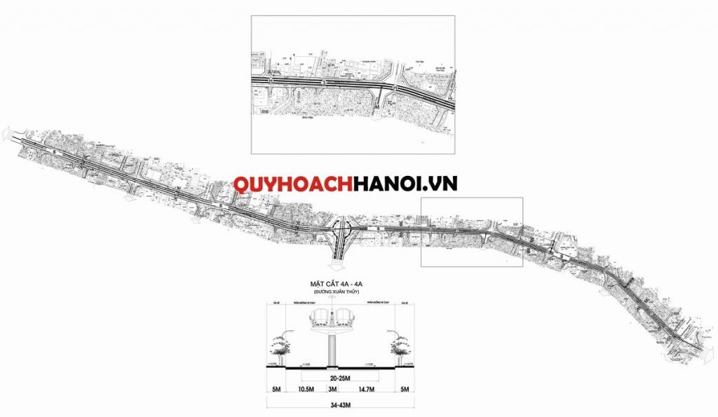 Bản đồ quy hoạch giao thông tuyến đường chính quận Cầu Giấy