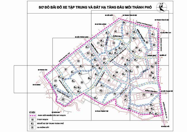 bản đồ quy hoạch bãi đỗ xe phân khu H2-3