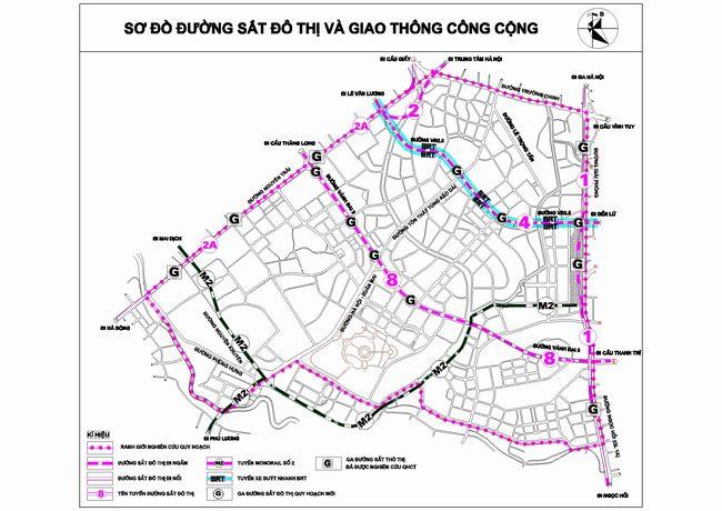 bản đồ quy hoạch đường sắt đô thị phân khu H2-3