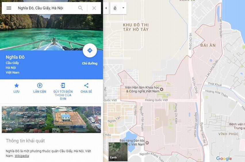 Ranh giới Bản đồ quy hoạch giao thông phường Nghĩa Đô