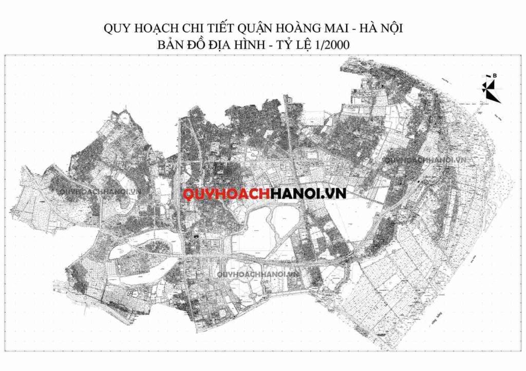 Bản đồ địa hình quận Hoàng Mai