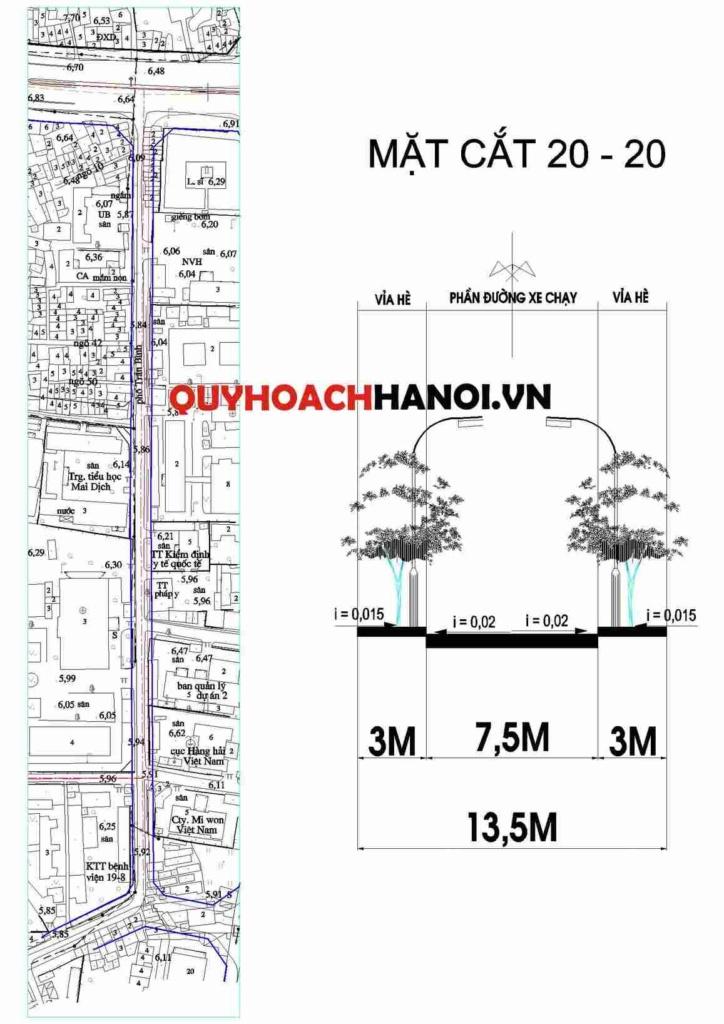 Bản đồ quy hoạch giao thông đường nội bộ phường Mai Dịch