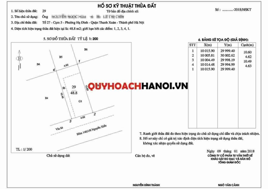 Đo đạc tính diện tích quận Thanh Xuân mẫu thứ nhất