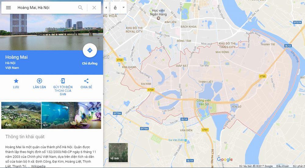 Vị trí bản đồ quận Hoàng Mai