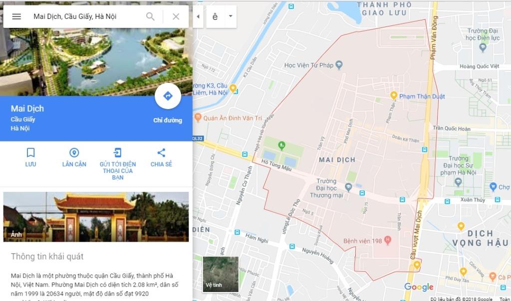 Vị trí Bản đồ quy hoạch giao thông phường Mai Dịch