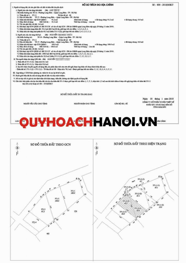 Đo đạc tách thửa quận Long Biên 1