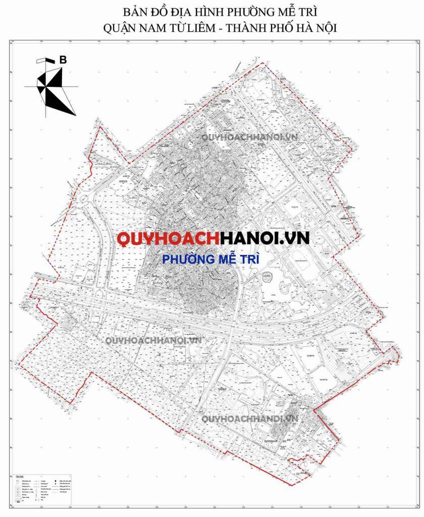 Bản đồ địa hình phường Mễ Trì quận Nam Từ Liêm