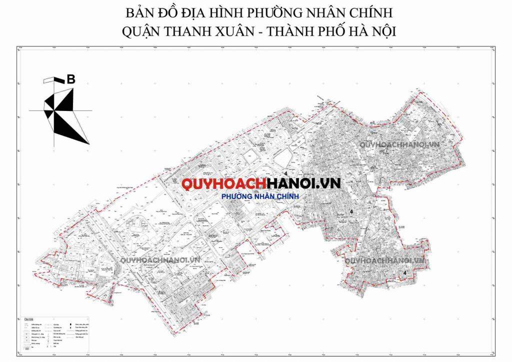 Bản đồ địa hình phường Nhân Chính quận Thanh Xuân