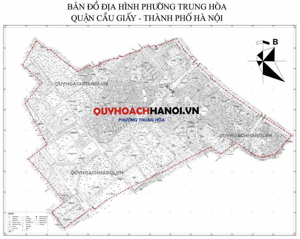 Bản đồ địa hình phường Trung Hòa quận Cầu Giấy