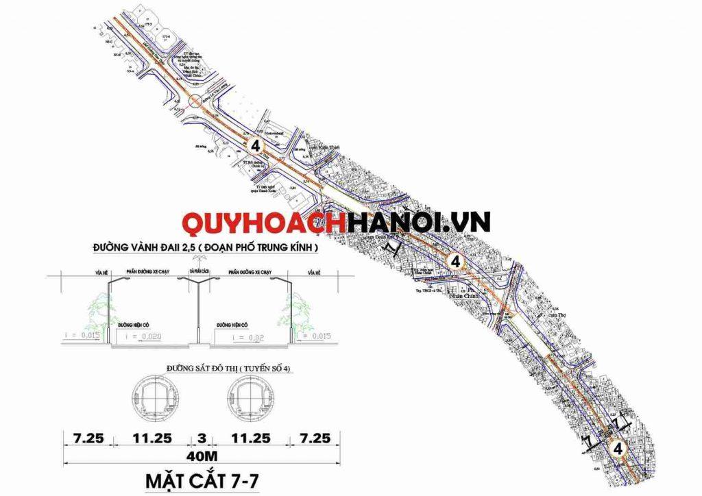 Bản đồ quy hoạch tuyến đường sắt đô thị qua phường Nhân Chính