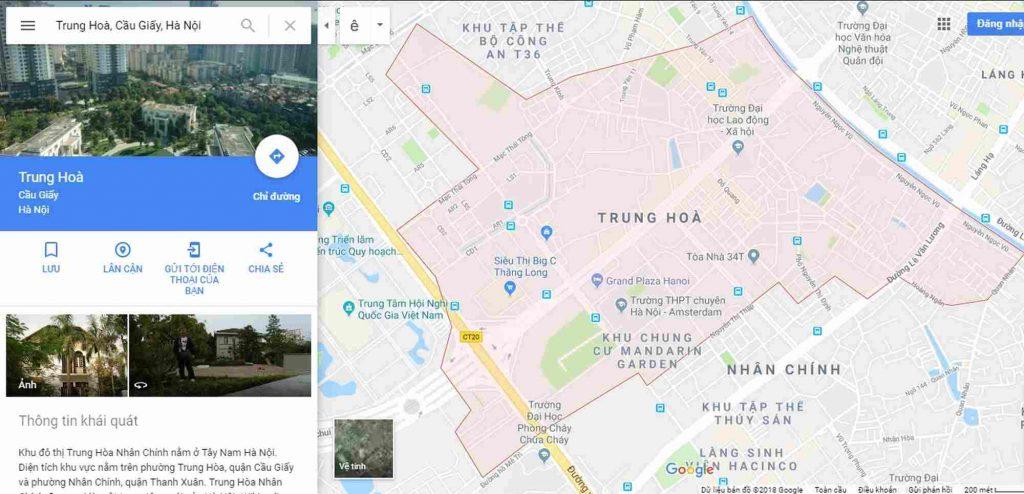Ranh giới bản đồ địa hình phường Trung Hòa quận Cầu Giấy