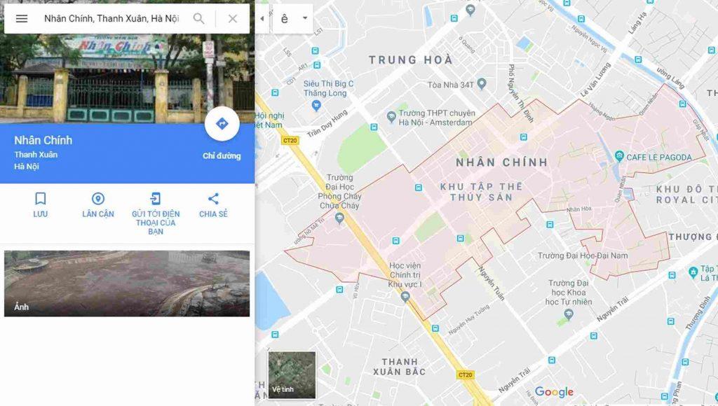 Vị trí bản đồ địa hình phường Nhân Chính