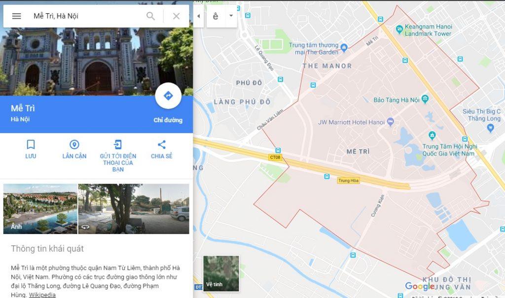 Vị trí Bản đồ địa hình phường Mễ Trì