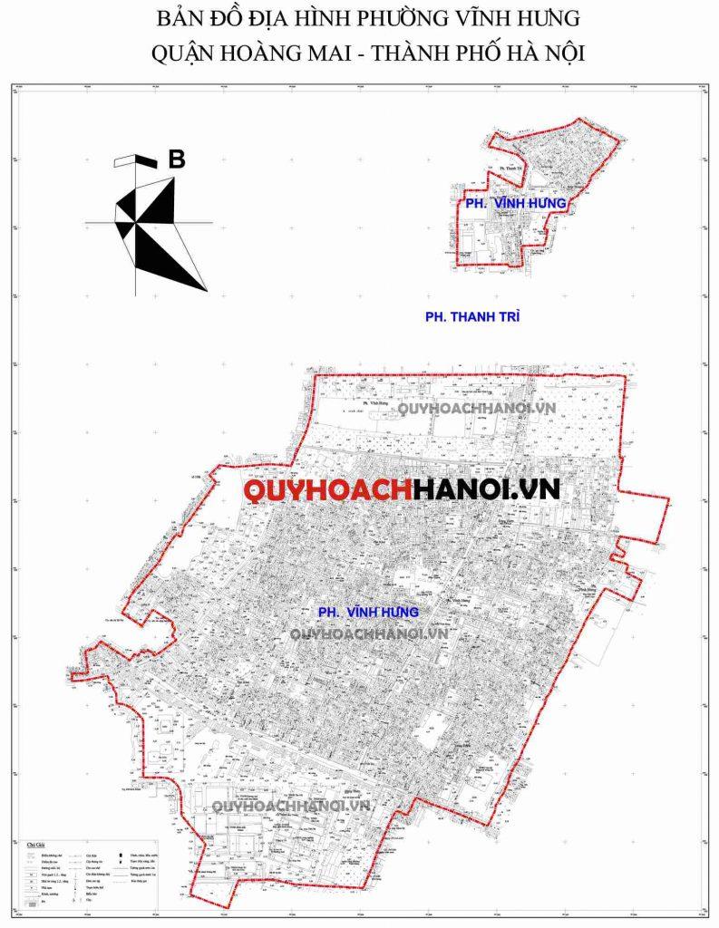 Ảnh bản đồ địa hình phường Vĩnh Hưng quận Hoàng Mai