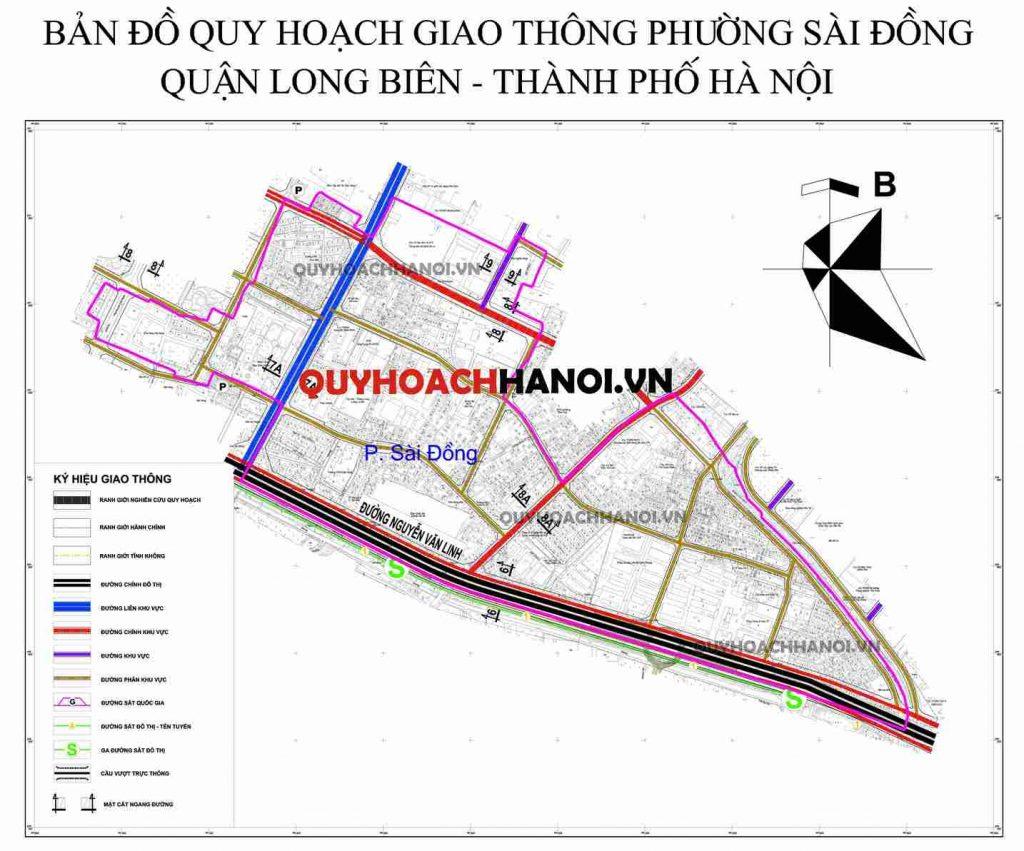 Bản đồ quy hoạch giao thông phường Sài Đồng quận Long Biên