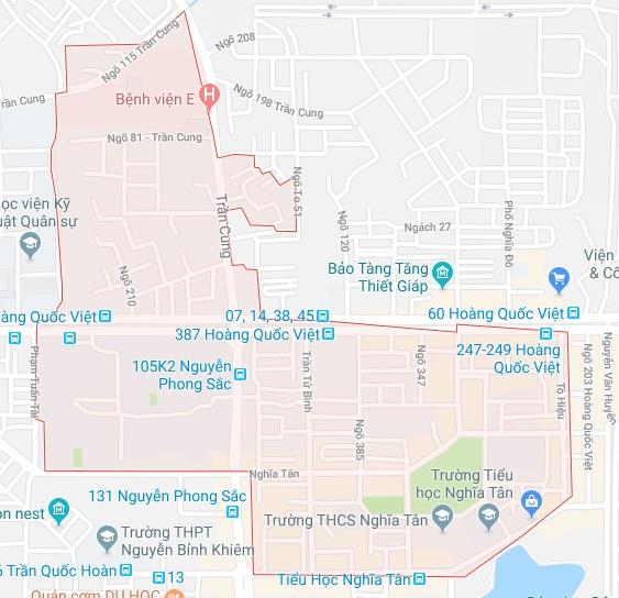 Ranh giới bản đồ quy hoạch giao thông phường Nghĩa Tân quận Cầu Giấy