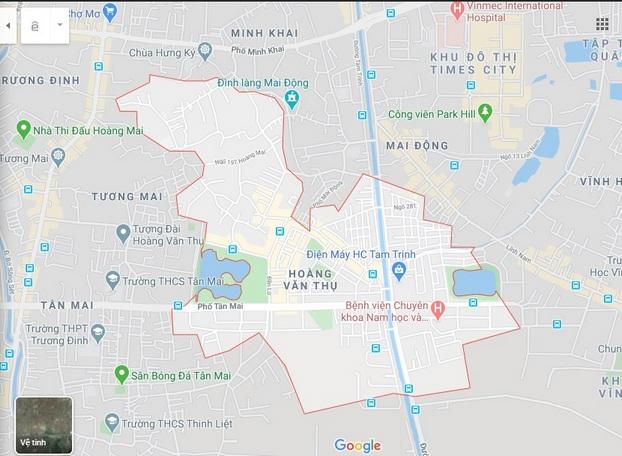 Ranh giới Bản đồ quy hoạch giao thông phường Hoàng Văn Thụ